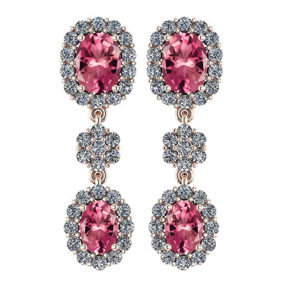 Certified 10.48 Ctw Pink Tourmaline And Diamond VS/SI1 Hanging stud Earrings For beautiful ladies 14k Rose Gold #1AC20142