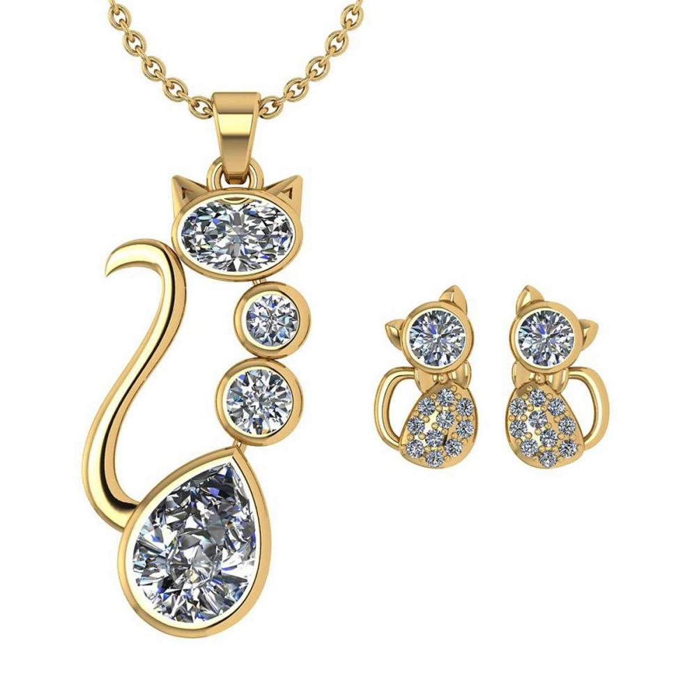 Certified 2.37 Ctw Diamond Cat Necklace + Earrings Jewelry Set 14K Yellow Gold (SI2/I1) #1AC17867
