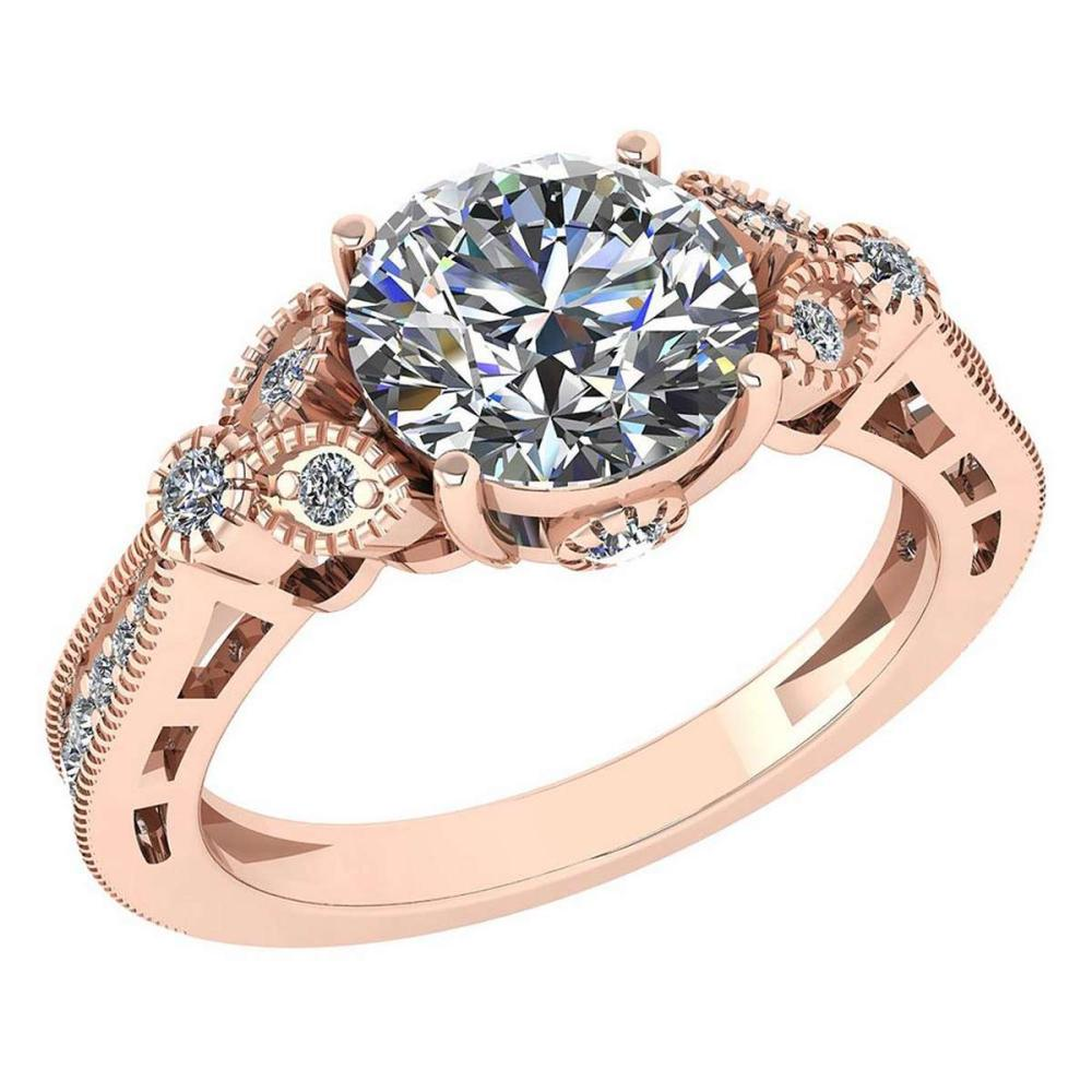 Certified 2.03 Ctw Diamond Engagement /Wedding 14K Rose Gold Promise Ring #1AC17054
