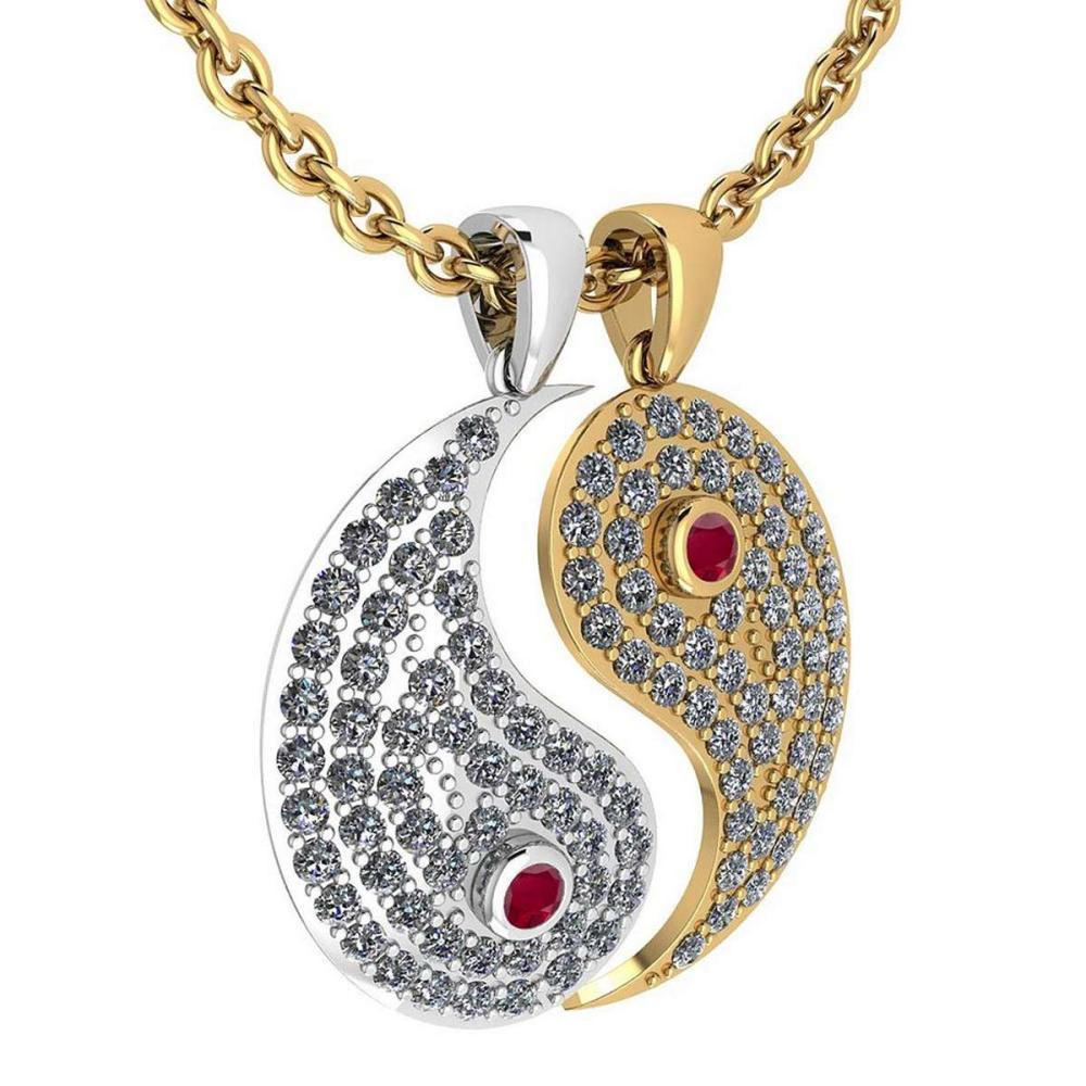 Certified 2.32 Ctw Ruby And Diamond VS/SI1 Couple Pendant New Expressions love collection 14K White And Yellow Gold #1AC20095