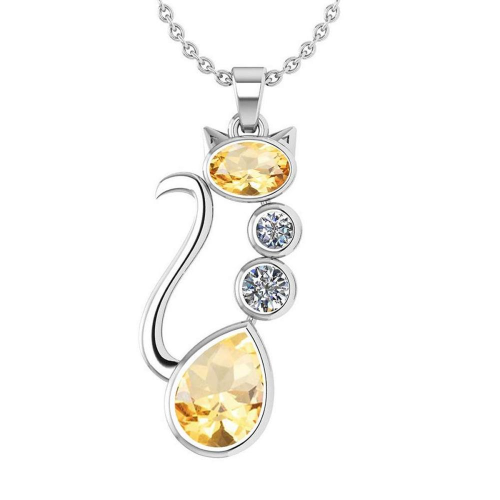 Certified 2.67 Ctw Citrine And Diamond VS/SI1 Cat Necklace 14K White Gold #1AC20163
