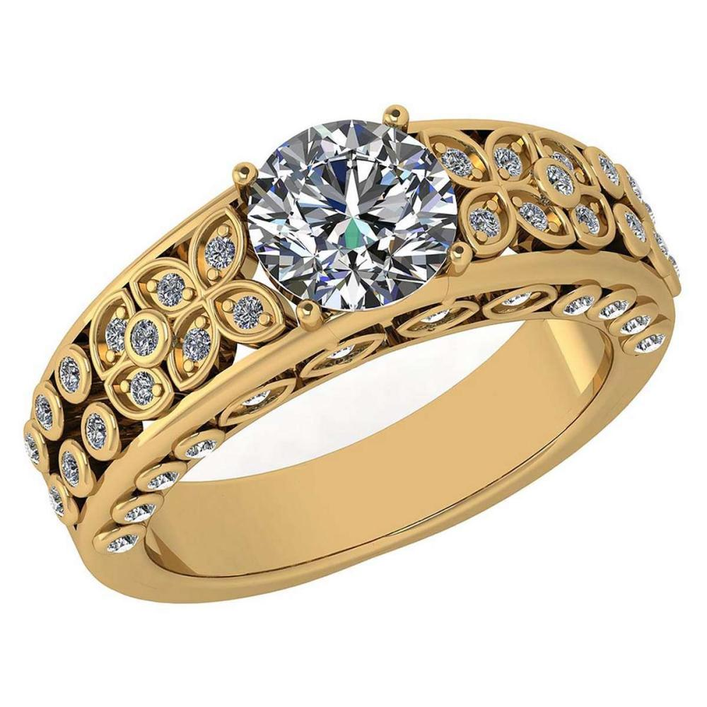 Certified 1.65 Ctw Diamond Engagement /Wedding 14K Yellow Gold Promise Ring #1AC17089