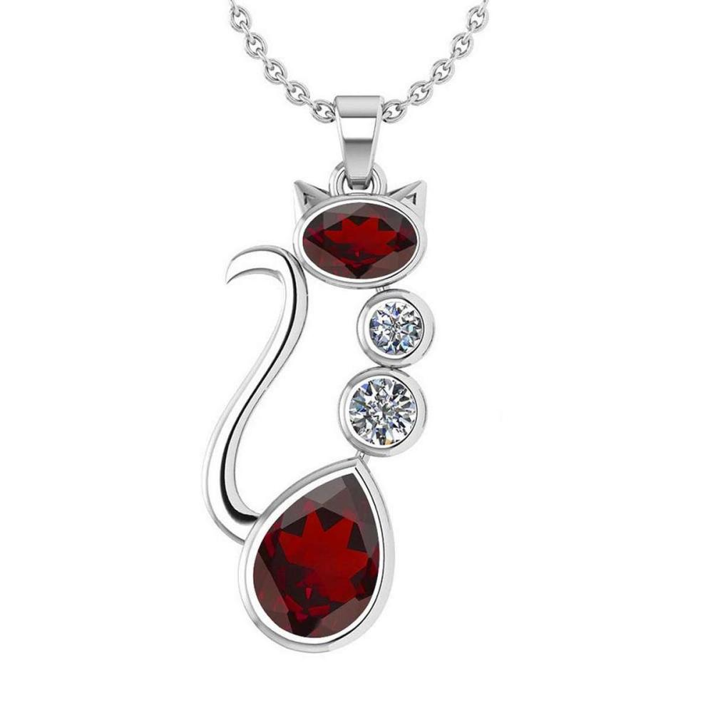 Certified 2.67 Ctw Garnet And Diamond VS/SI1 Cat Necklace 14K White Gold #1AC20164
