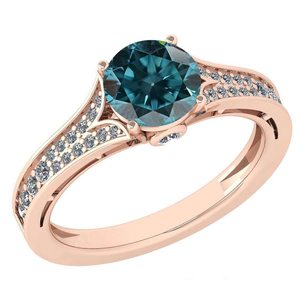 Certified 1.47 Ctw Treated Fancy Blue Diamond And White G-H Diamond Wedding/Engagement 14K Rose Gold Halo Ring (SI2/I1) #1AC17723