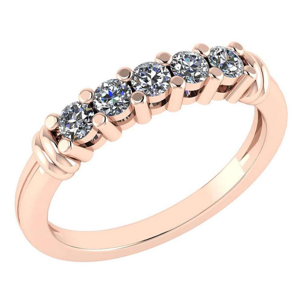 Certified 0.43 Ctw Diamond Engagement /Wedding 14K Rose Gold Promises Band #1AC17063