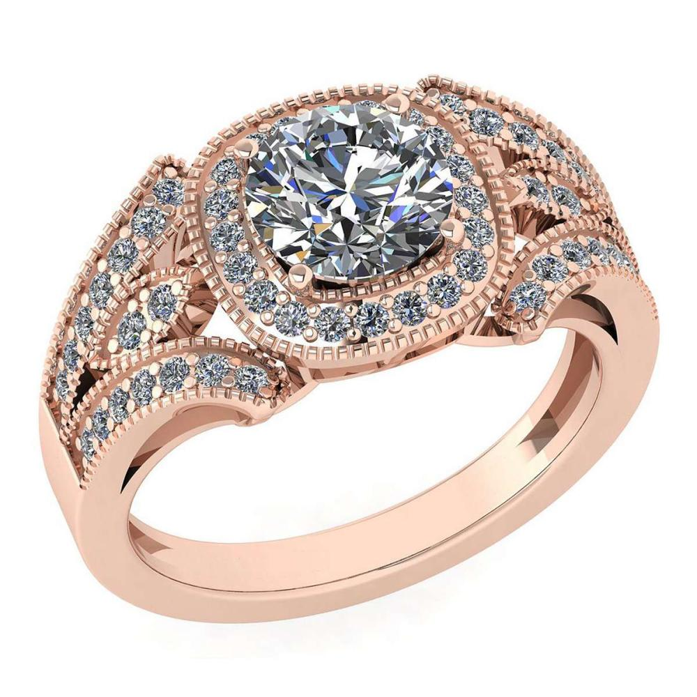 Certified 1.58 Ctw Diamond Wedding/Engagement Style 14K Yellow Gold Halo Ring (SI2/I1) #1AC17900
