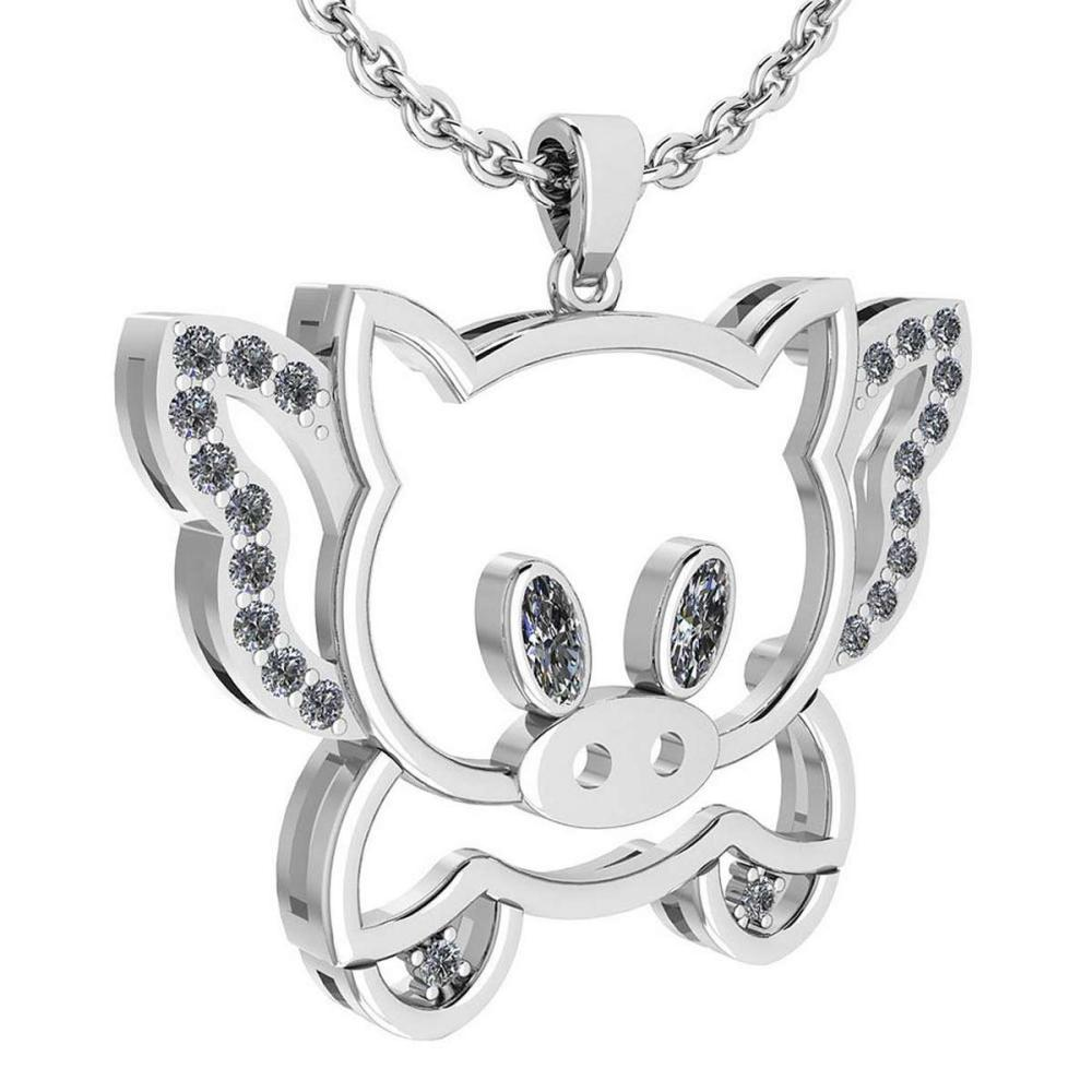 Certified 0.28 Ctw Diamond Chinese Century Year Of Pig 2019 Charms Necklace 18K White Gold (VS/SI1) #1AC19359
