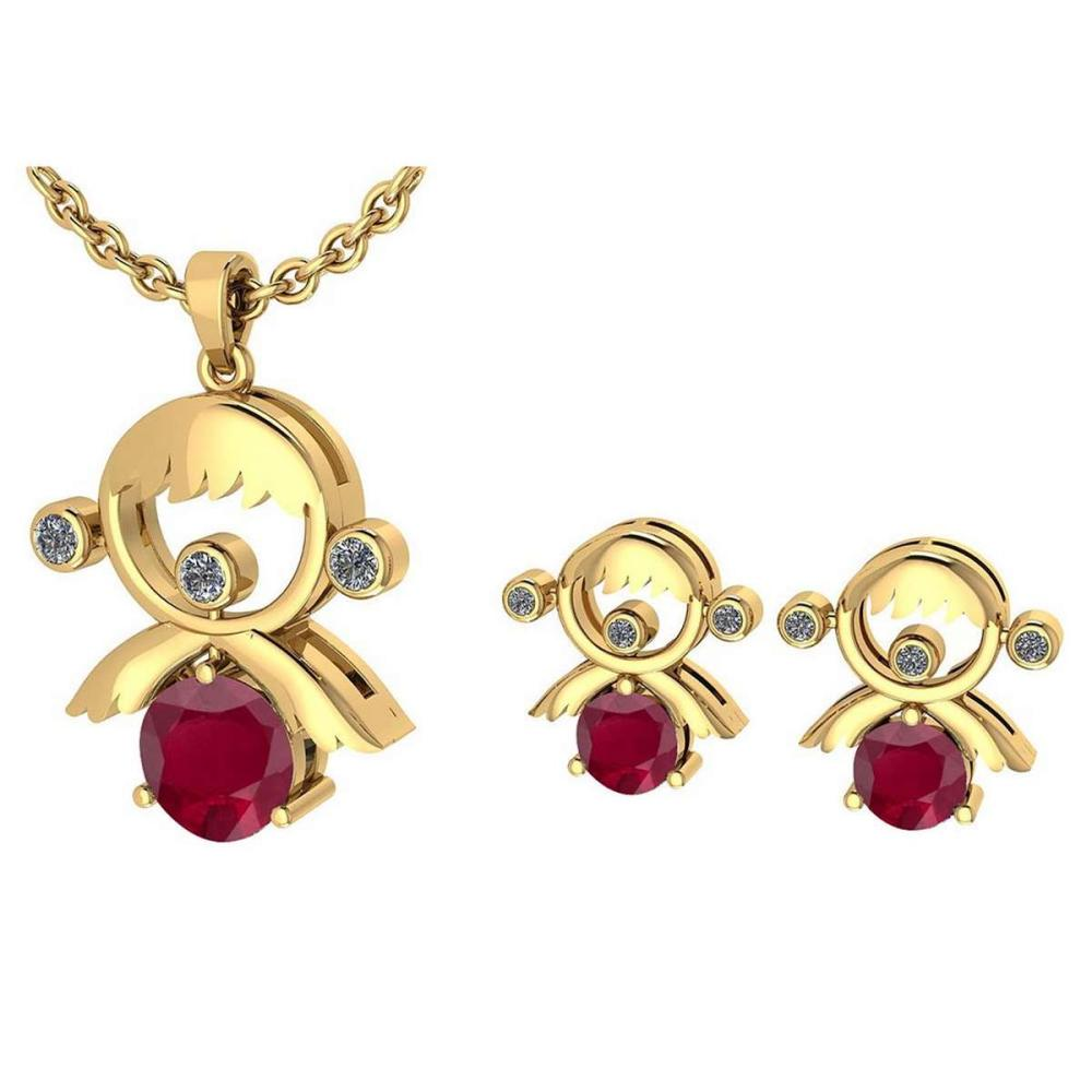 Certified 0.93 Ctw Ruby And Diamond Tiny Angel Necklace + Earrings Jewelry Set 14K Yellow Gold (VS/SI1) #1AC19390