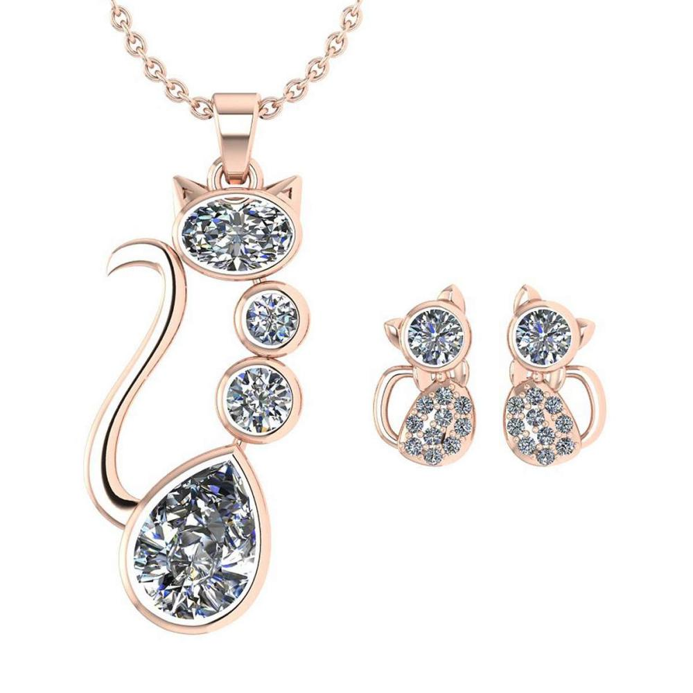 Certified 2.37 Ctw Diamond Cat Necklace + Earrings Jewelry Set 14K Rose Gold (SI2/I1) #1AC17866