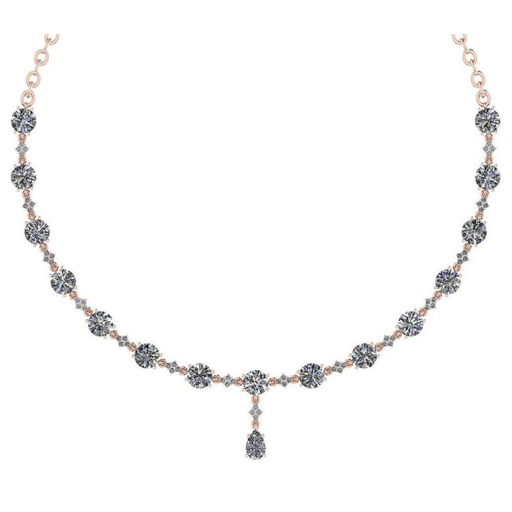 Certified 21.11 Ctw Diamond Necklace For Ladies 14K Rose Gold (SI2/I1) #1AC19336
