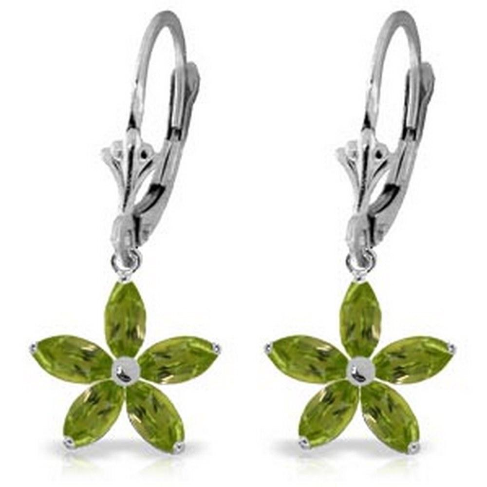2.8 Carat 14K Solid White Gold Leverback Earrings Natural Peridot #1AC93151