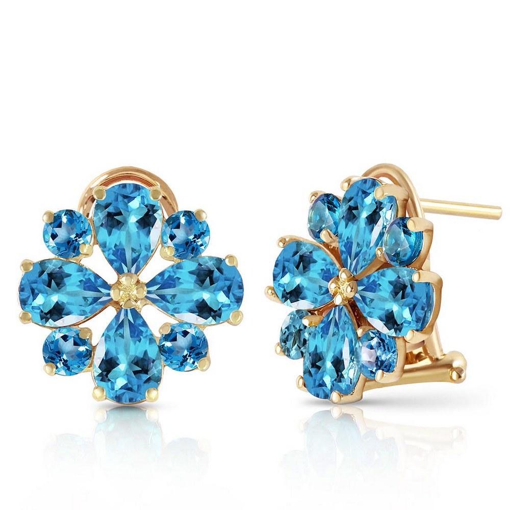 4.85 Carat 14K Solid Gold Fiore Blue Topaz Earrings #1AC92621