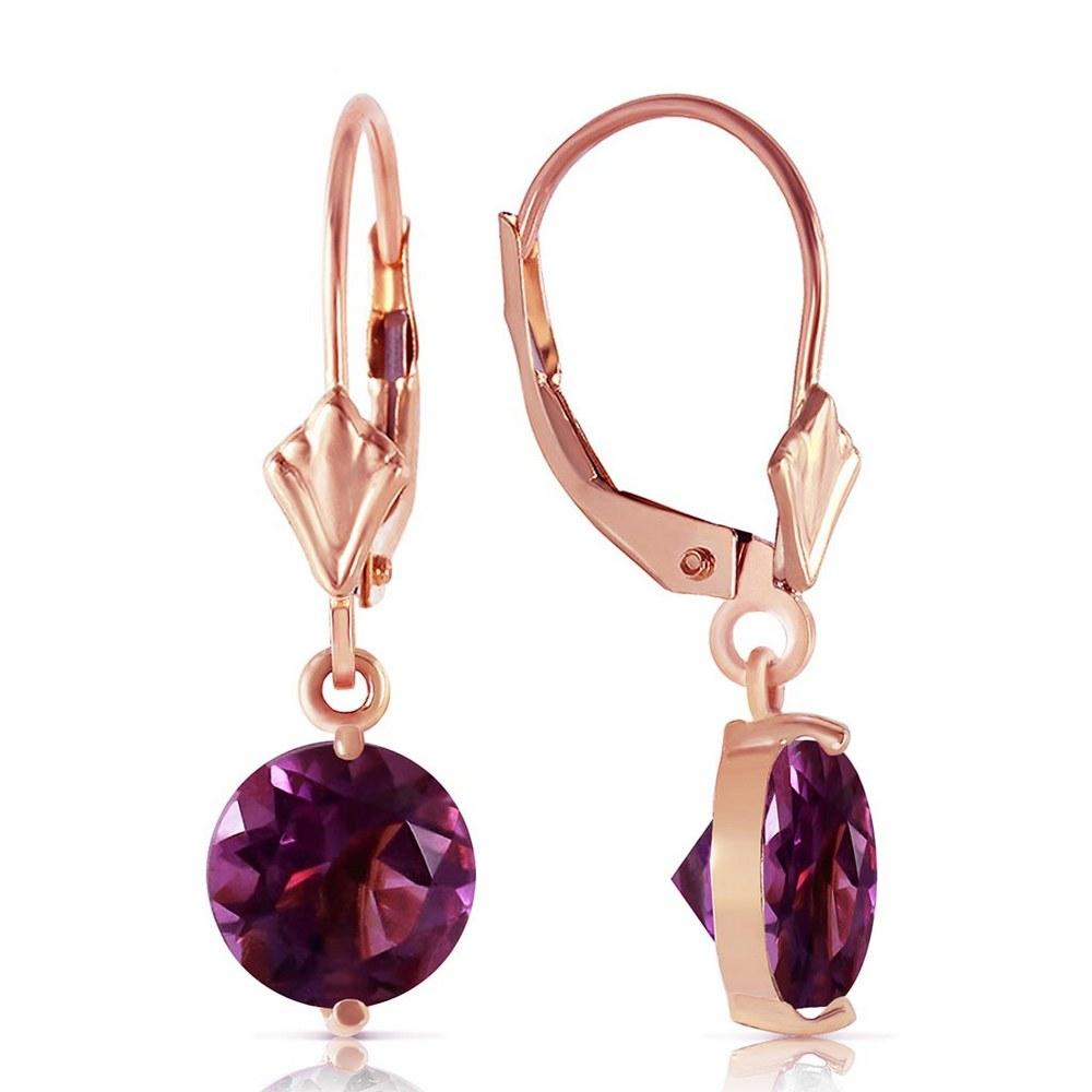 3.1 Carat 14K Solid Rose Gold Round Amethyst Leverback Earrings #1AC91956