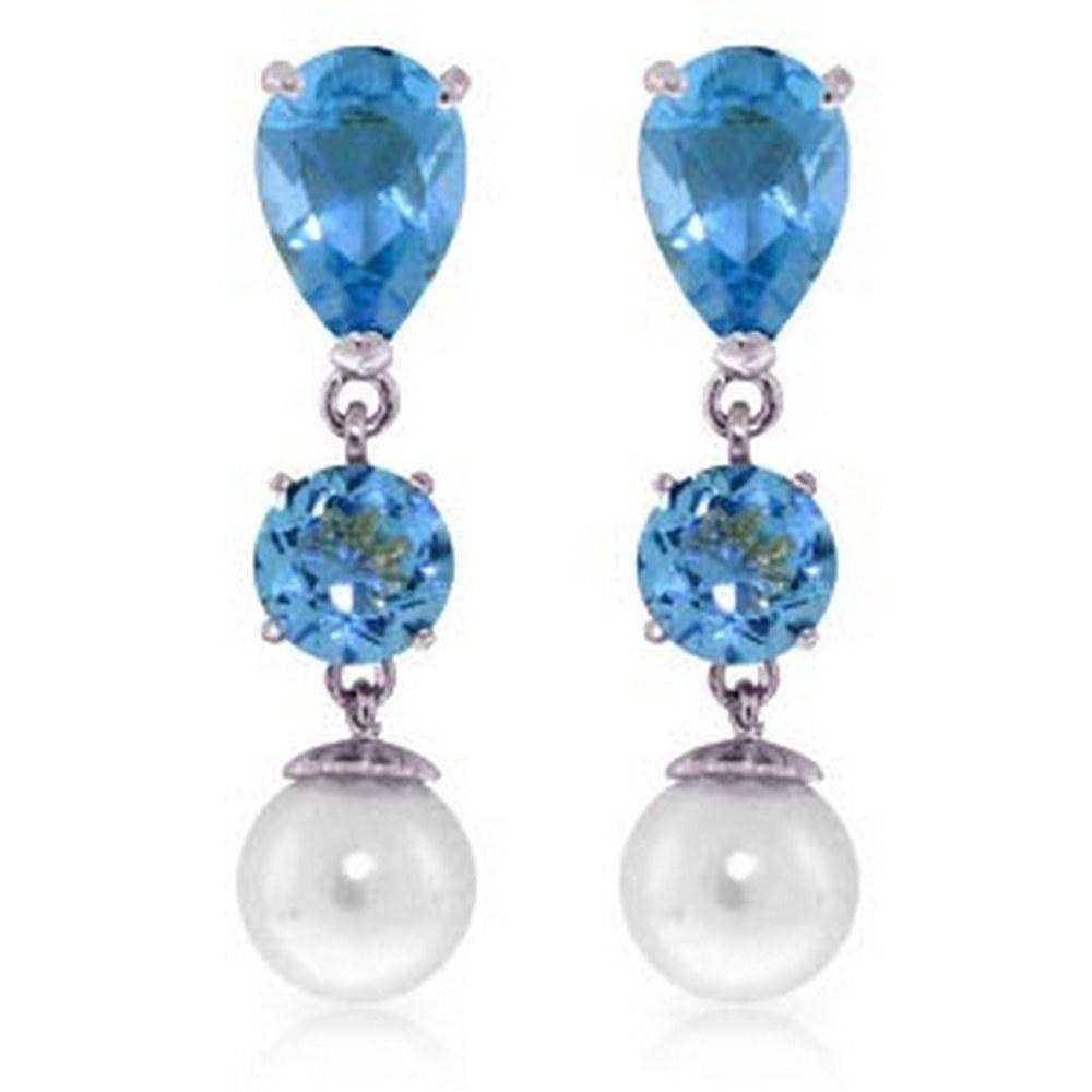10.5 Carat 14K Solid White Gold Burning Up Blue Topaz pearl Earrings #1AC92437