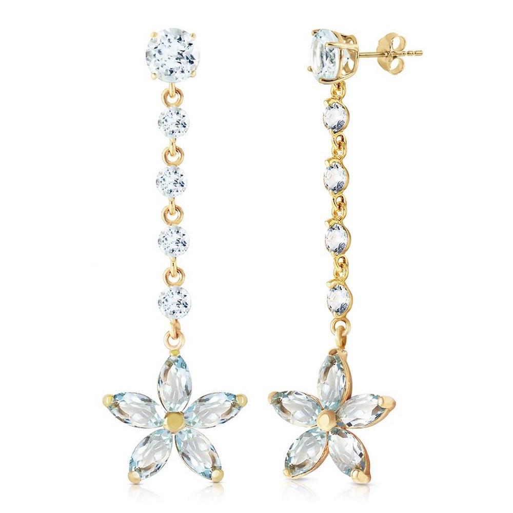 4.8 Carat 14K Solid Gold Stardrop Aquamarine Earrings #1AC93317