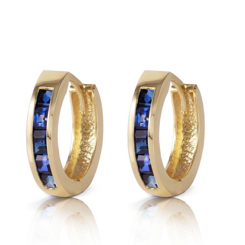1.3 Carat 14K Solid Gold Hoop Earrings Natural Sapphire #1AC91415