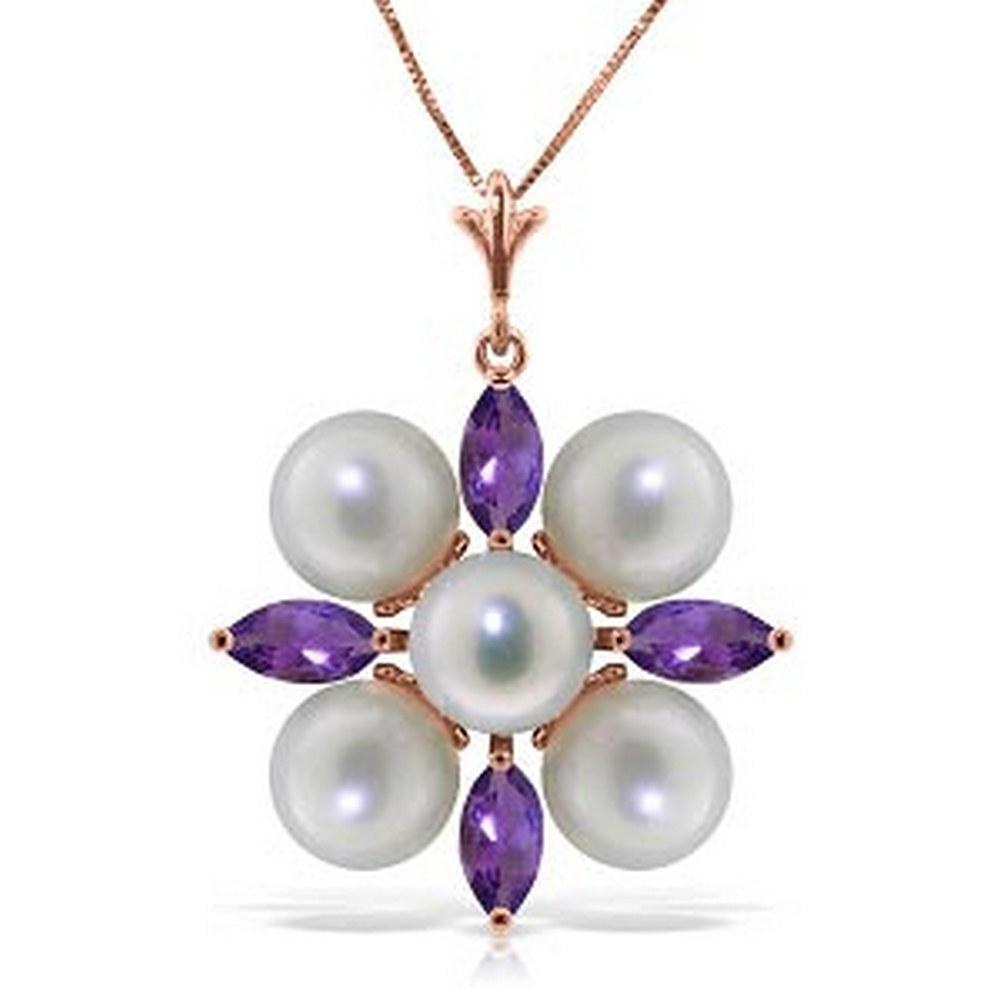 6.3 CTW 14K Solid Rose Gold Necklace Amethyst pearl #1AC92919
