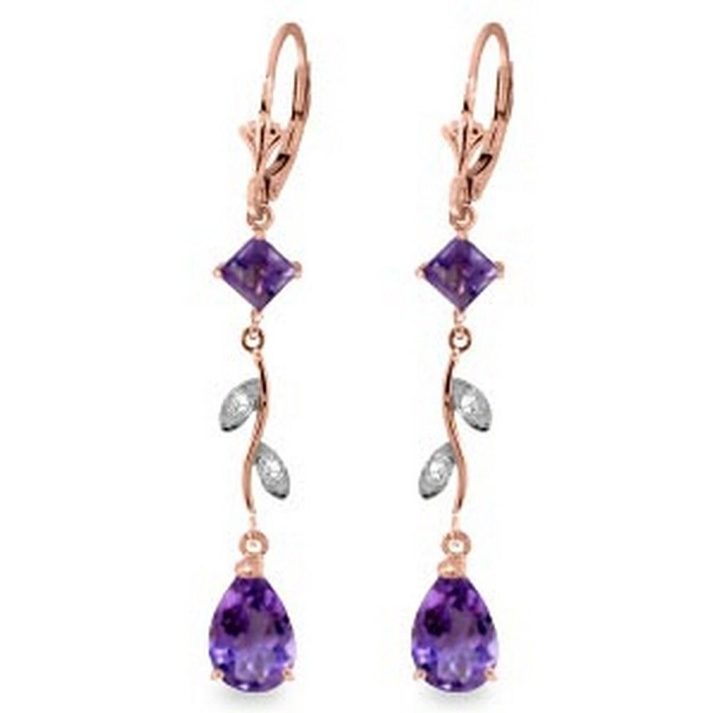 3.97 CTW 14K Solid Rose Gold Chandelier Earrings Natural Diamond Amethyst #1AC92001