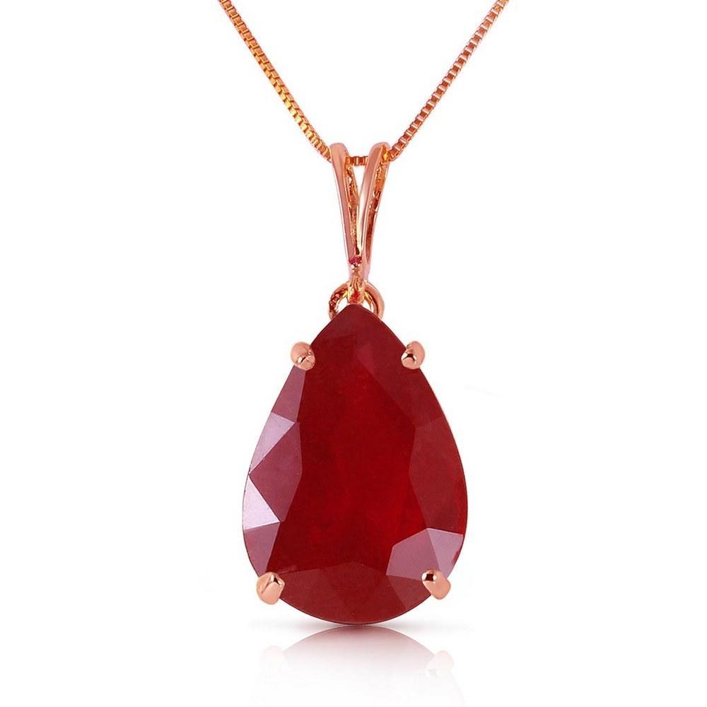 5 Carat 14K Solid Rose Gold Teardrop Ruby Necklace #1AC93773