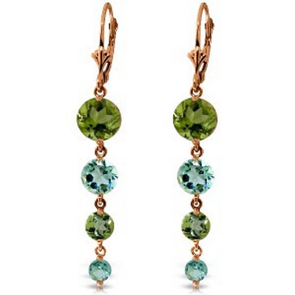 14K Solid Rose Gold Chandelier Earrings with Peridot & Blue Topaz #1AC92343