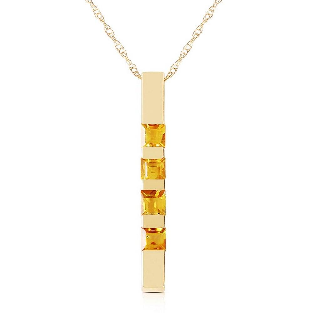 0.35 CTW 14K Solid Gold Necklace Bar Natural Citrine #1AC92753