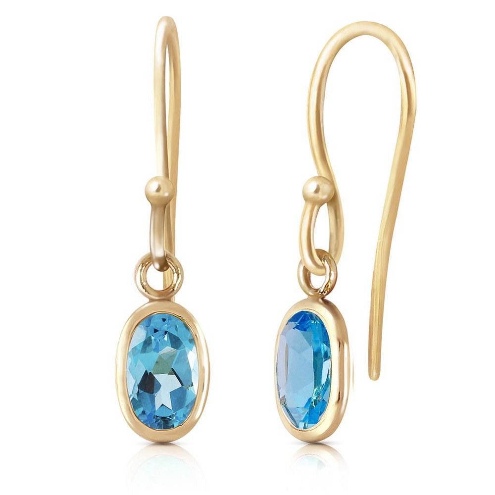 1 Carat 14K Solid Gold Faithful Blue Topaz Earrings #1AC93496