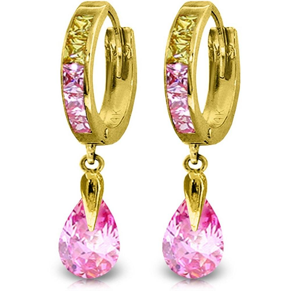 5.68 CTW 14K Solid Gold Pink Act Cubic Zirconia Earrings #1AC91489