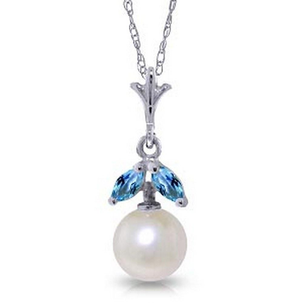 2.2 CTW 14K Solid White Gold Necklace Natural pearl Blue Topaz #1AC92881