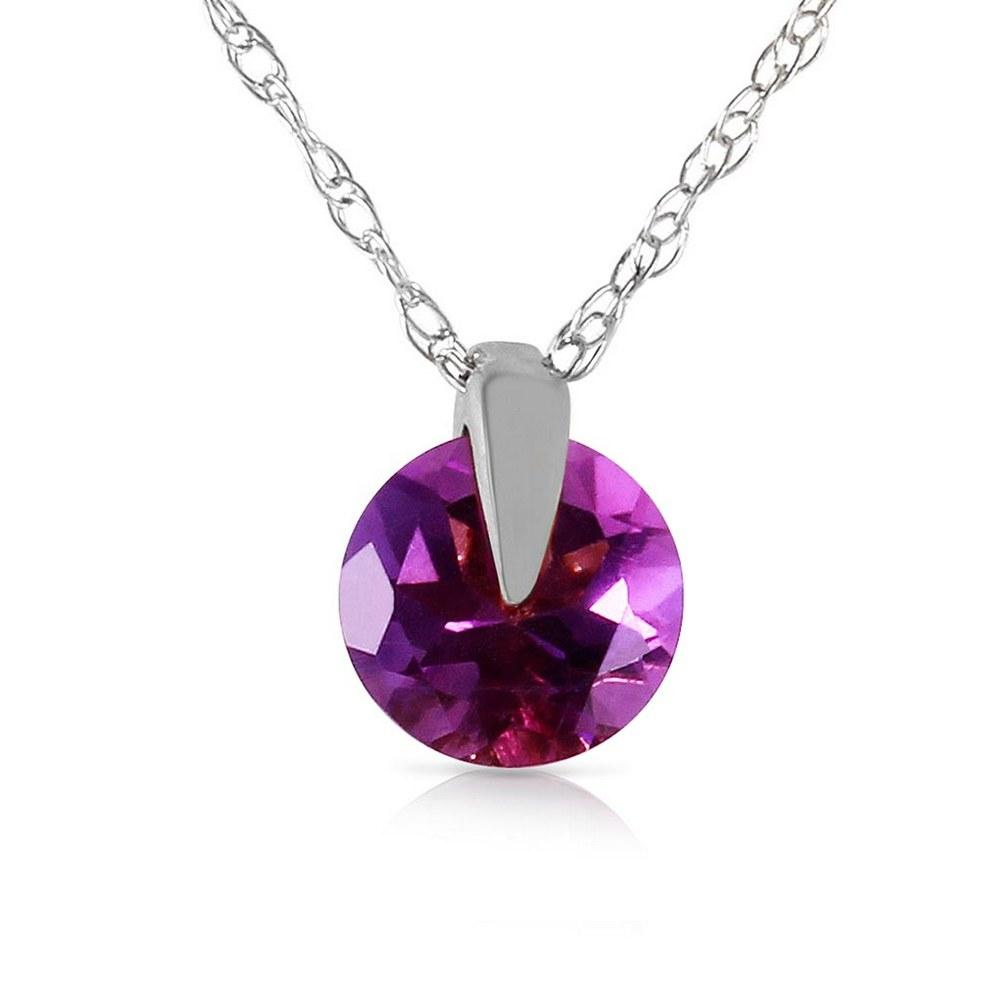 0.75 Carat 14K Solid White Gold Leading Beauty Amethyst Necklace #1AC93013