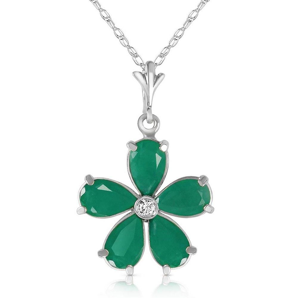 2.22 CTW 14K Solid White Gold Necklace Natural Emerald Diamond #1AC93364