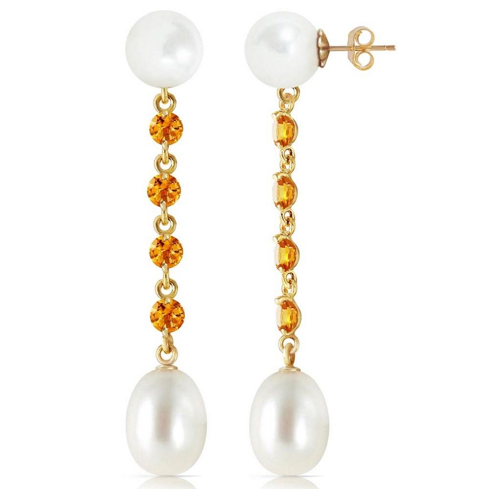 11 Carat 14K Solid Gold pearly View Citrine pearl Earrings #1AC93332