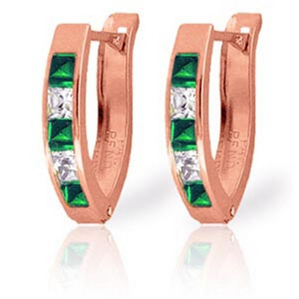 1.26 Carat 14K Solid Rose Gold Emerald White Topaz Hoop Earrings #1AC93429