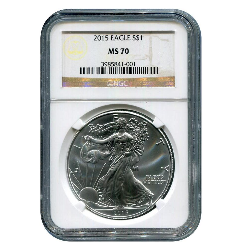 Certified Uncirculated Silver Eagle 2015 MS70 NGC #1AC66844