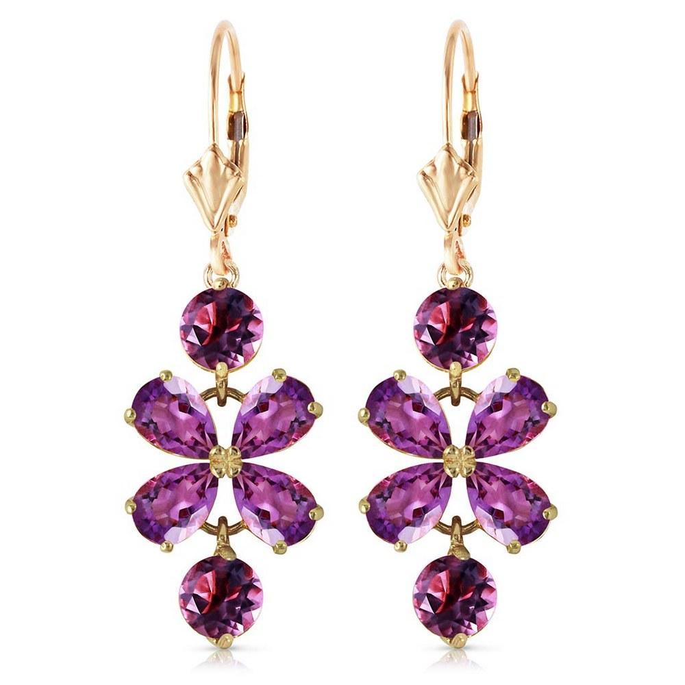 5.32 Carat 14K Solid Petals Amethyst Earrings #1AC91985