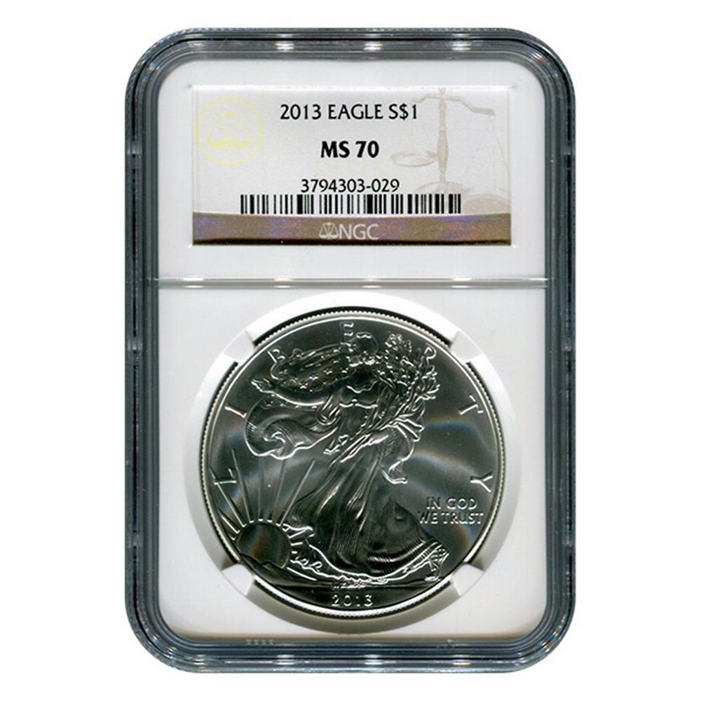 Certified Uncirculated Silver Eagle 2013 MS70 NGC #1AC66847