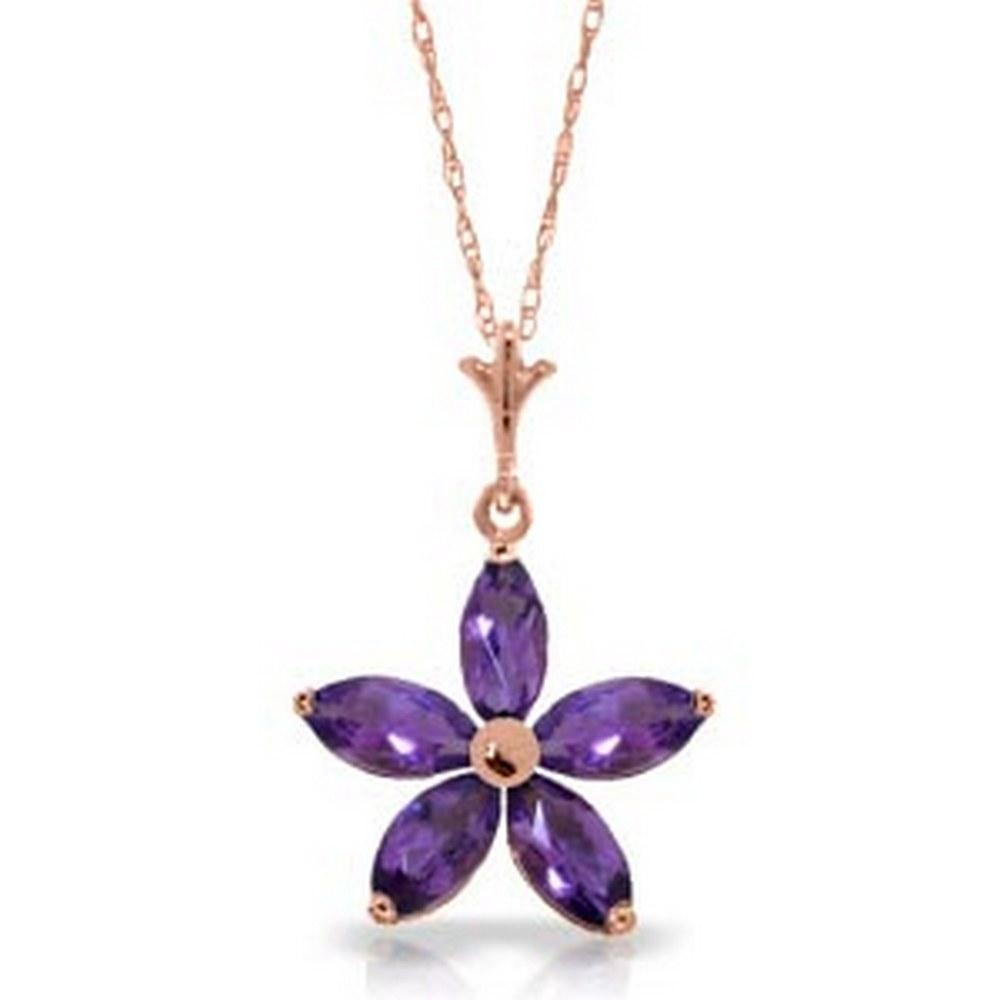 14K Solid Rose Gold Necklace with Natural Purple Amethysts #1AC92502