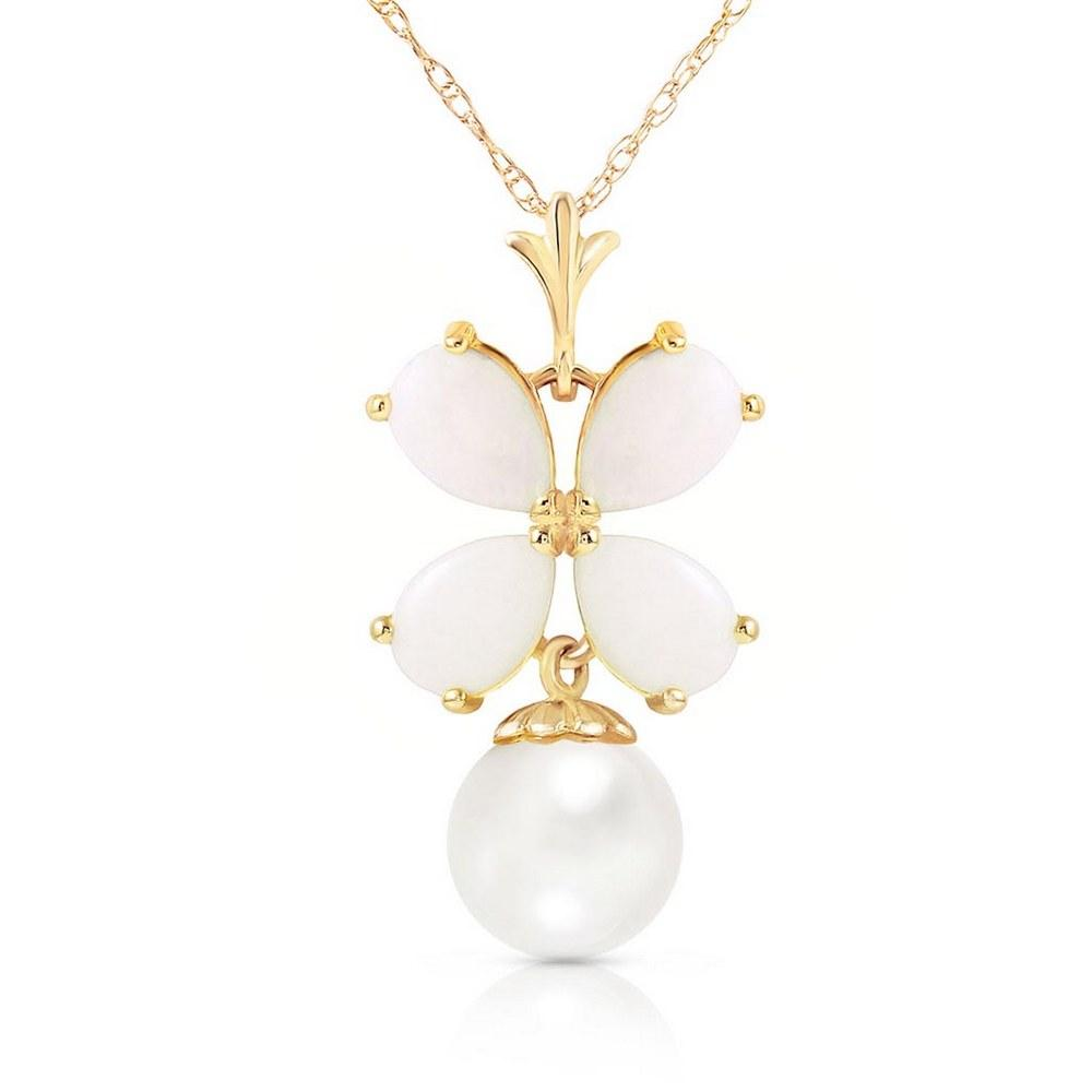 3 Carat 14K Solid Gold Deco Blanc Opal pearl Necklace #1AC92678