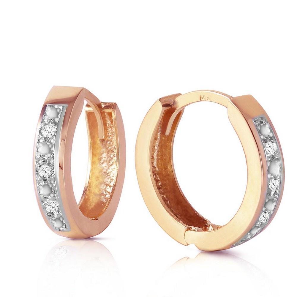 0.04 CTW 14K Solid Rose Gold Hoop Huggie Earrings Diamond #1AC91380