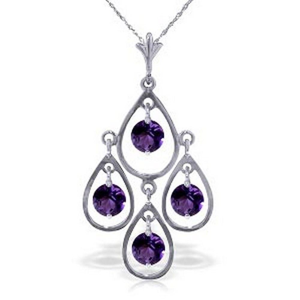 1.2 Carat 14K Solid White Gold Full Moon Amethyst Necklace #1AC92836