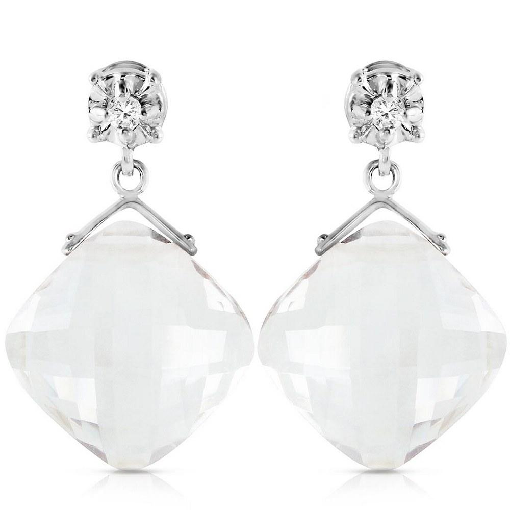 17.56 Carat 14K Solid White Gold Dancing Angels White Topaz Earrings #1AC93489