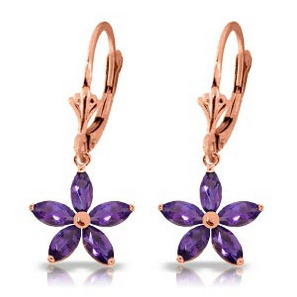 2.8 CTW 14K Solid Rose Gold Leverback Earrings Natural Amethyst #1AC92499
