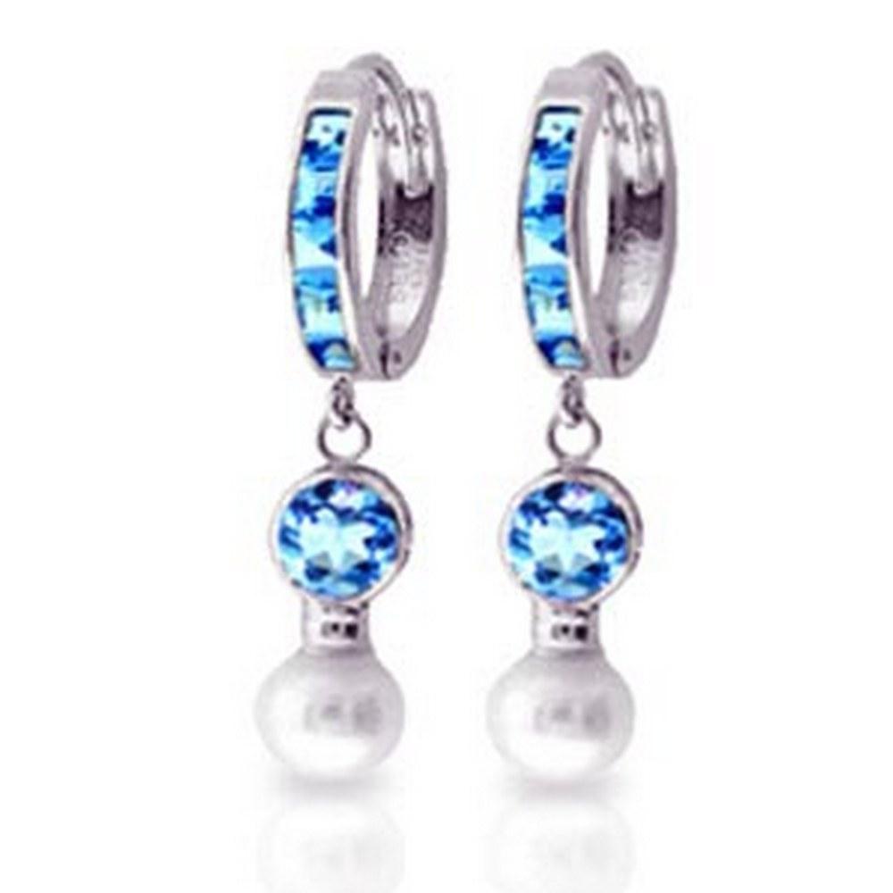 4.3 Carat 14K Solid White Gold Huggie Earrings pearl Blue Topaz #1AC91425