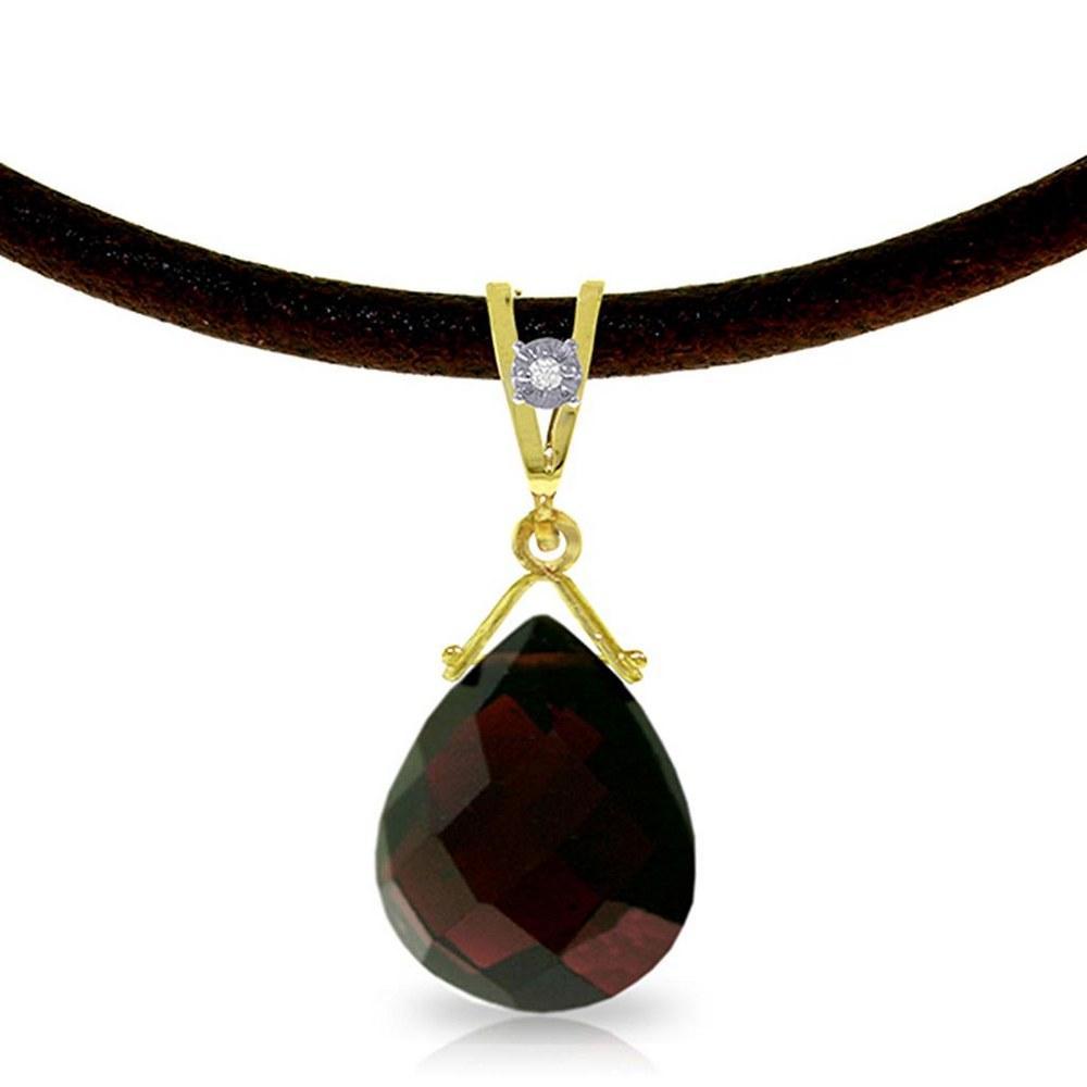 6.51 Carat 14K Solid Gold Attraction Garnet Diamond Necklace #1AC93670