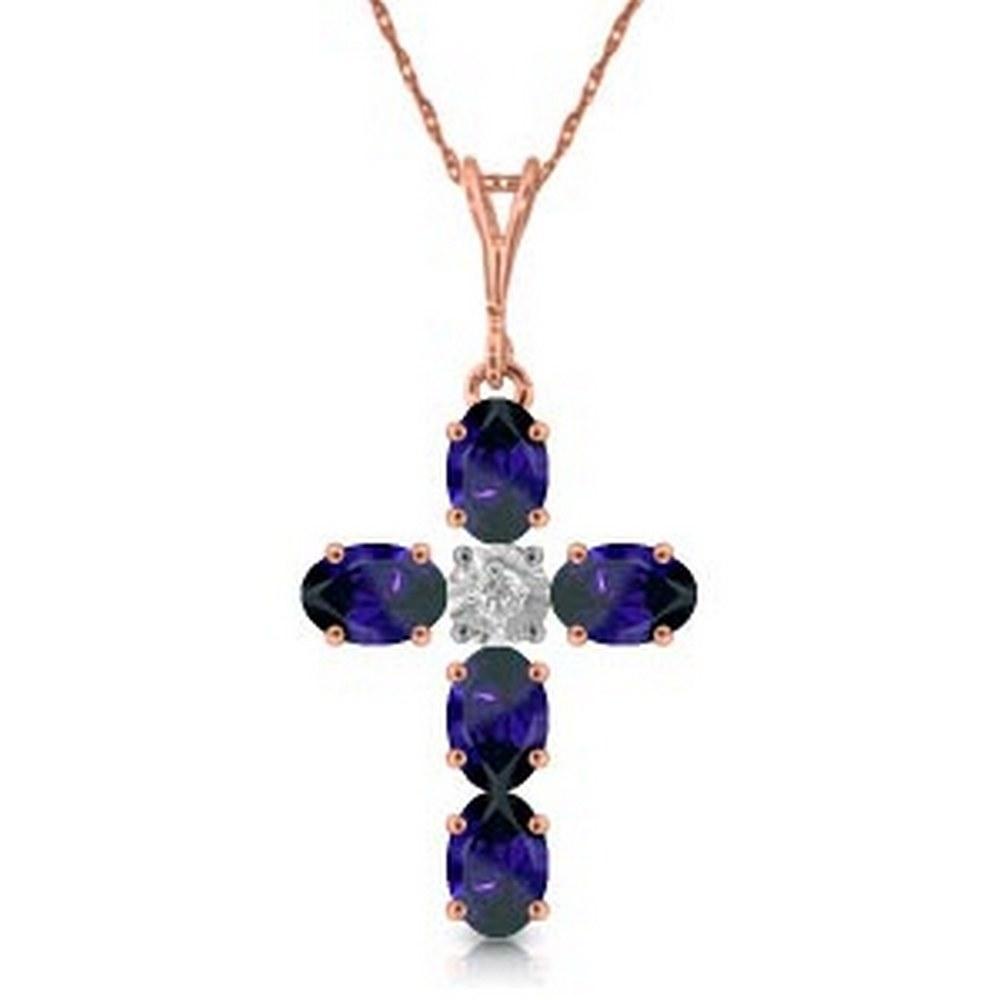 1.88 Carat 14K Solid Rose Gold Cross Necklace Natural Diamond Sapphire #1AC92088