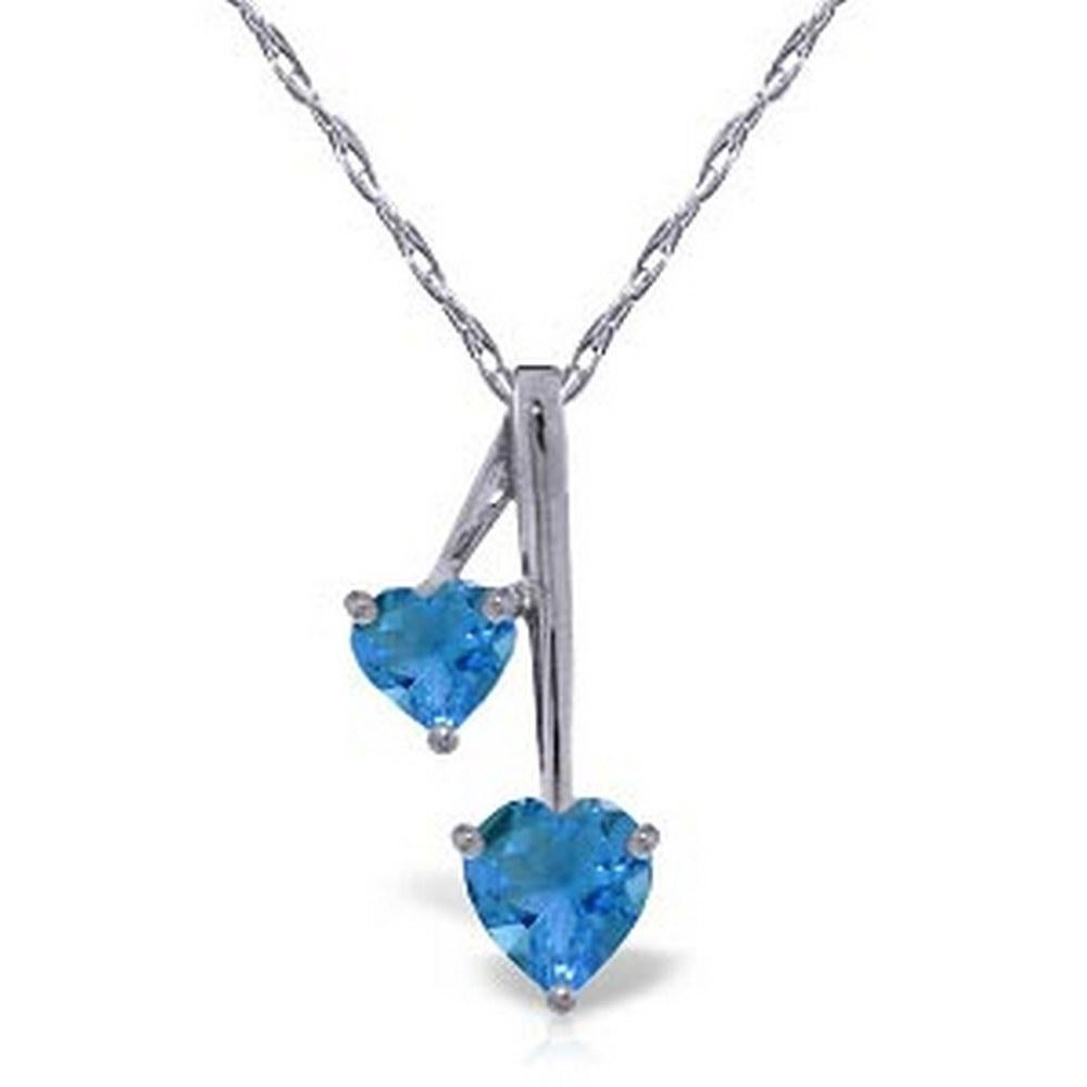 1.4 CTW 14K Solid White Gold Hearts Necklace Natural Blue Topaz #1AC92869