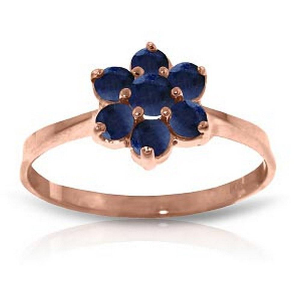 14K Solid Rose Gold Ring with Natural Sapphires #1AC92790