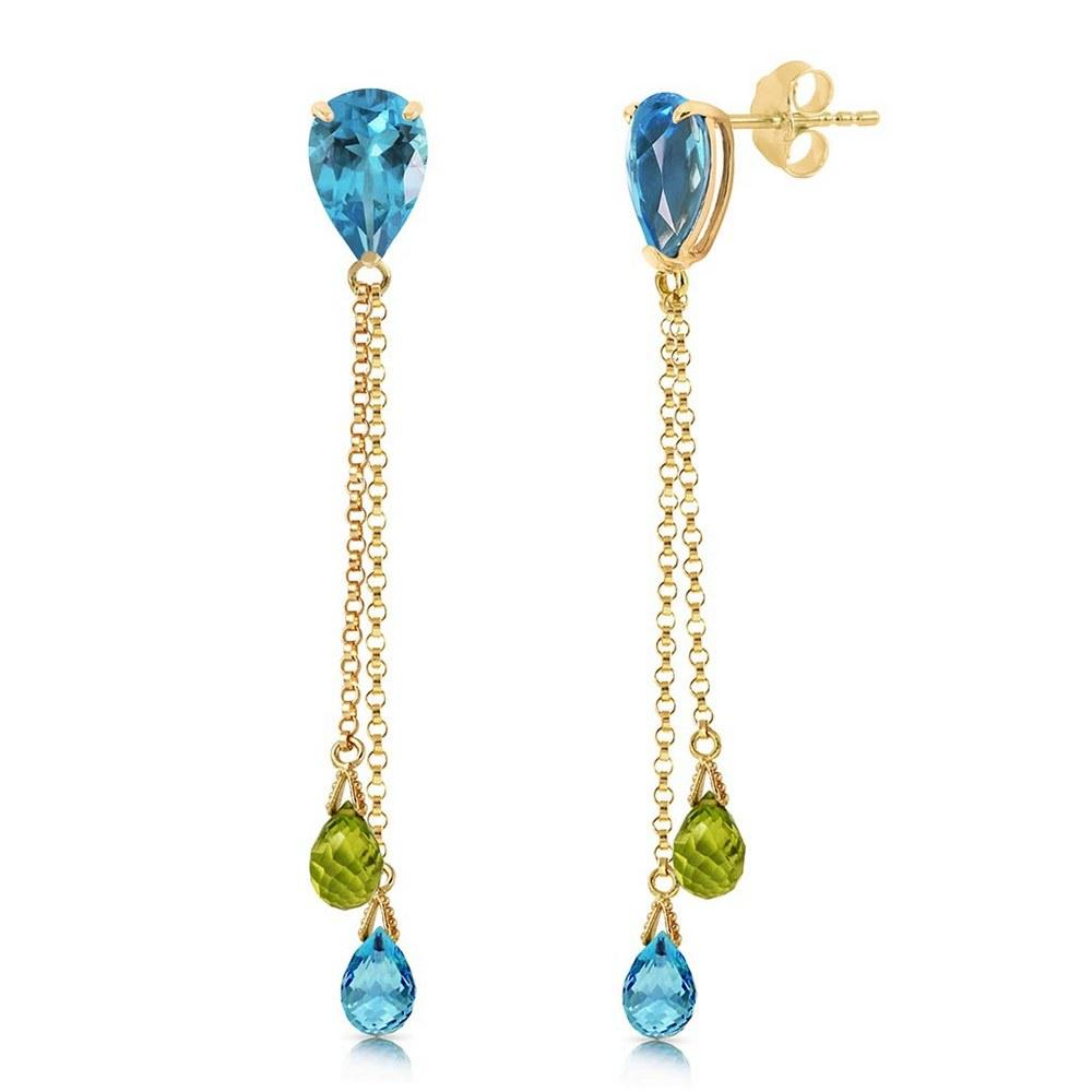 7.5 Carat 14K Solid Gold Chandelier Earrings Blue Topaz Peridot #1AC91721