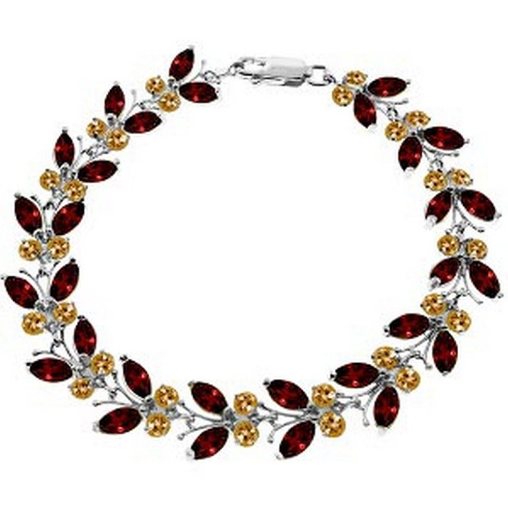 16.5 Carat 14K Solid White Gold Butterfly Bracelet Garnet Citrine #1AC92998