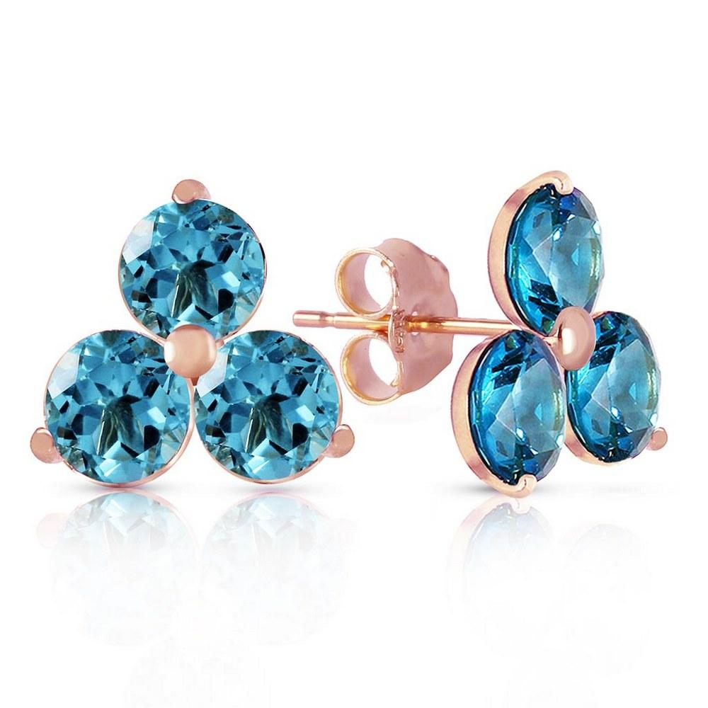 14K Solid Rose Gold Stud Earrings with Natural Blue Topaz #1AC93273