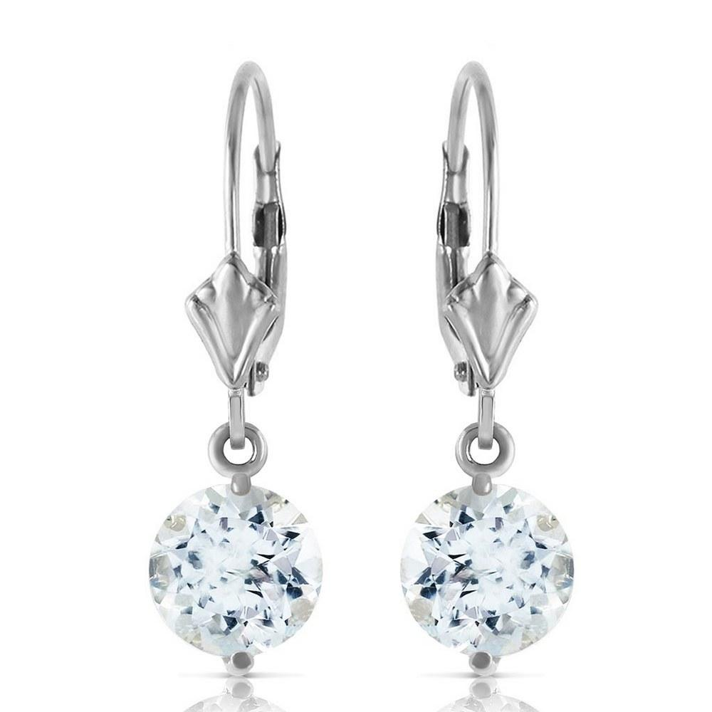 3.1 Carat 14K Solid White Gold Complacency Aquamarine Earrings #1AC92272